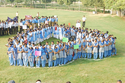 Girls form a big heart and boys form a big foot to promote good cardiovascular and footcare in diabetics in India