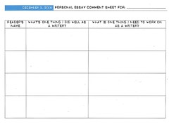 Personal Essay Comment Sheet