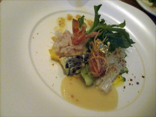 Ice Plant Salad with Live Kuruma Shrimp and Ika, with White Miso dressing by bloompy
