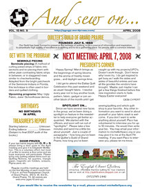 April 2008 Newsletter Cover