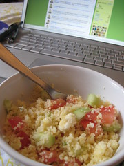 couscous with feta, tomato and cucumber