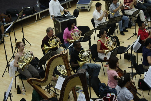 Yale horn professor William Purvis (last row of horns, center) joins his students as part of the section
