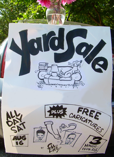 Artistic yard sale sign