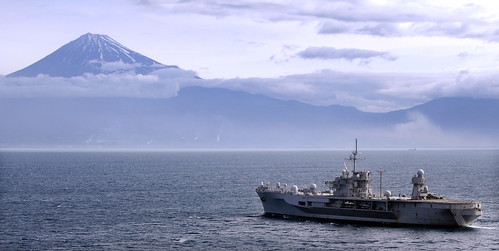 USS Blue Ridge LCC-19 off of Mt. Fuji