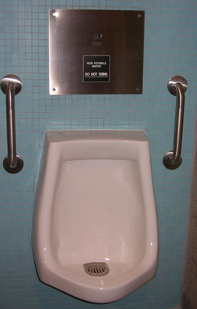 Richmond Oval uses recycled rain water to flush this urinal