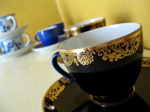 An attractive, if impractical, set of demitasse cups.