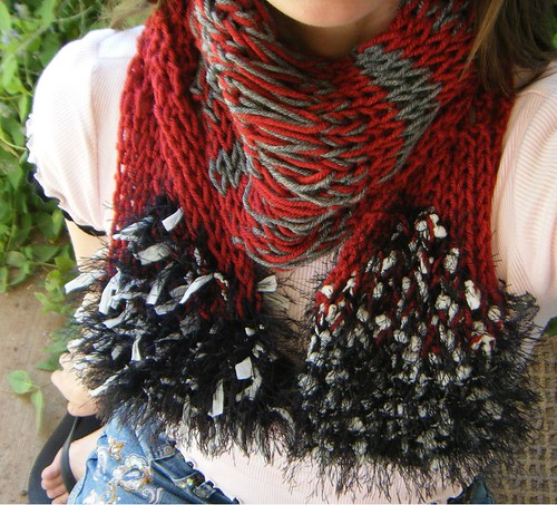 Red Black Grey White School Team Colors Handknit Scarf for Hot Topic Types