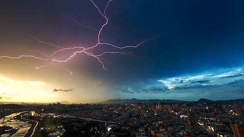 An electrical storm lingers over Taipei, Taiwan.