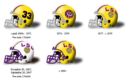 LSU football helmets