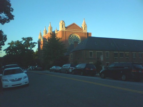 First Presbyterian Church at sunset.