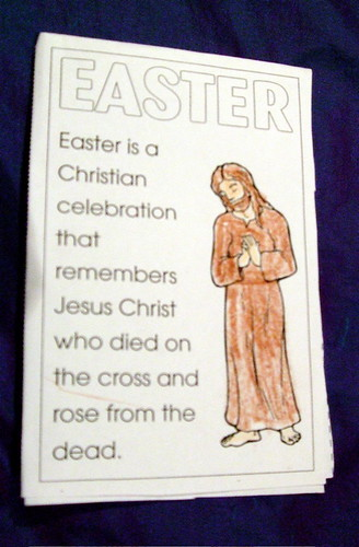 leaflet saying Easter is a Christian celebration that remembers Jesus Christ who died on the cross and rose from the dead
