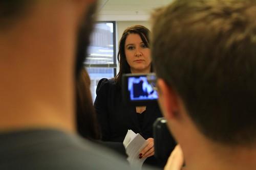 Janna seen between the director and cameraman