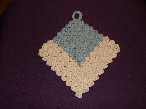 blue & ecru potholder