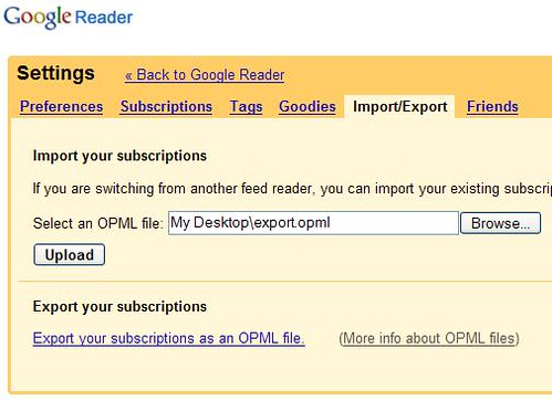 Google Reader - Import-OPML-file