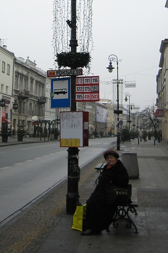 Waiting for the bus in Warsaw