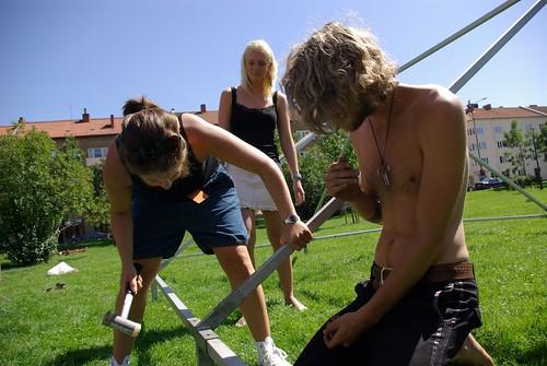 Bygg under festivalen 2007. Foto: Nina Wahlman