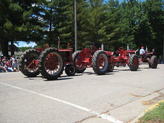 Nicollet Parade tractors hitched together