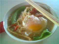 Poached egg in instant noodles