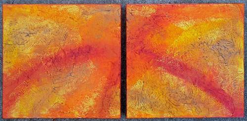 Arcus mixed media/acrylic diptych on canvas, each 12x12