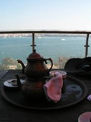 Having tea while looking over the Bosphorus Strait, Istanbul, Turkey.