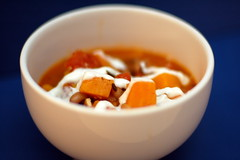 Sweet potato and black-eyed pea soup