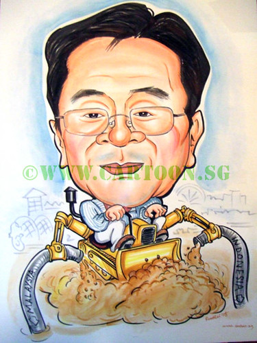 Caricature of construction company boss