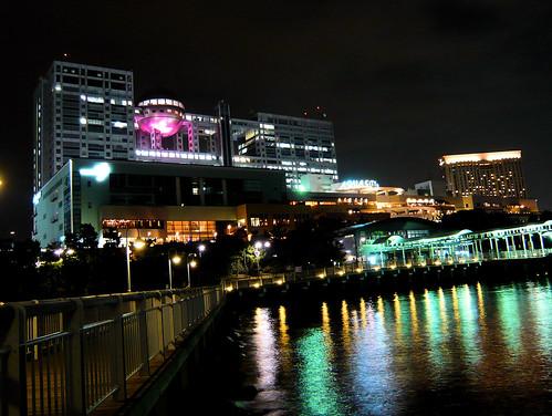 Fuji TV building at night