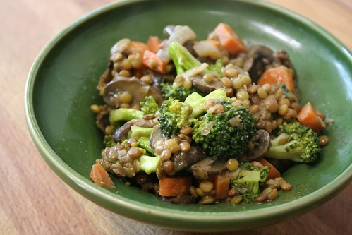 Mushroom and Broccoli Lentils