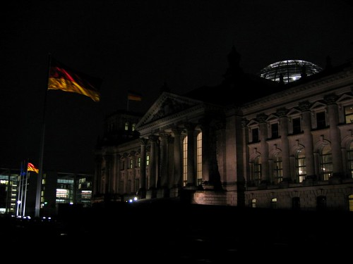 Reichstag at night.