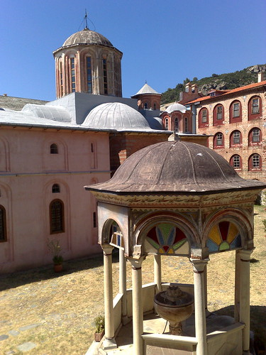Phiale and Katholikon at Xeropotamou Monastery
