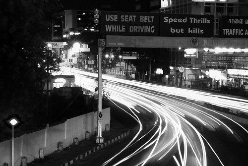 Mount Road/Anna Flyover/Nungambakkam High road at night.