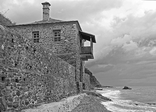 building on Mt. Athos's NE coast