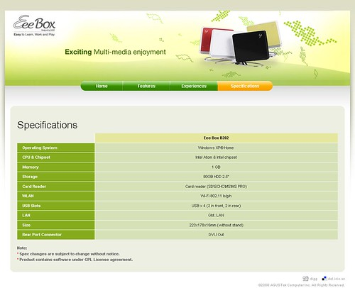 Asus Eee Box microsite - Specs Page