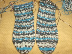 Woven Cable Eyelet Socks - Cables