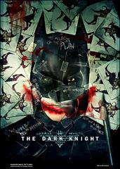 Poster em retalhos do Batman, com a marca do Coringa - CLIQUE PARA AMPLIAR EM ALTA RESOLUÇÃO