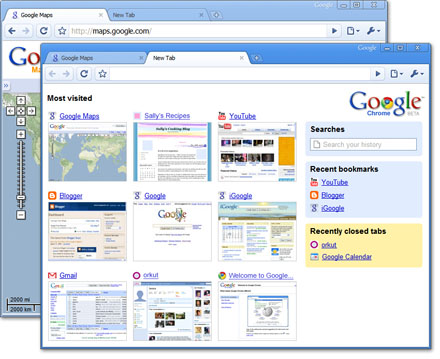 screenshots of Google Chrome