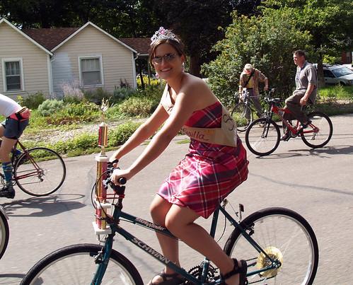 Sarah Palin rides a bicycle