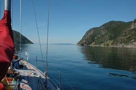 Erfjord in Ryfylke. Motor cruising.