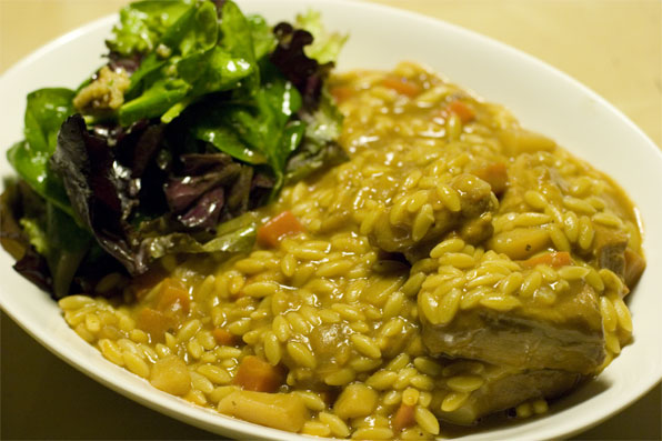 Curry orzo w/ spare ribs and miso salad