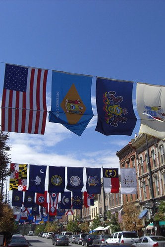 Flags in Larimer Square