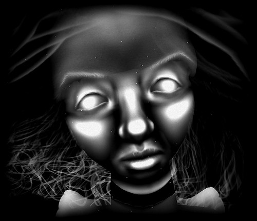 Ghostly Avatar Face - Black and White