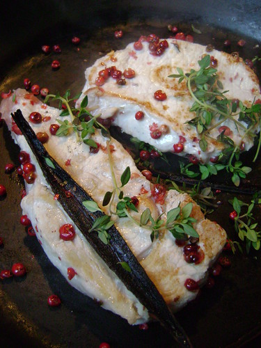 Pork Steaks with Vanilla and Pink Peppercorns