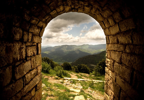 View from the interior of the hermitage of Sant Pere de Mogrony