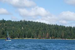 A boat sails on the peaceful Hyatt Reservoir East of Ashland, Oregon