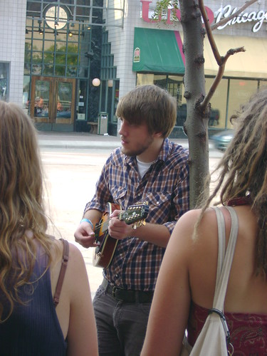 If you walk down State Street you can usually spot at least one street musician.  This guy and the guitarist with him were actually pretty good.