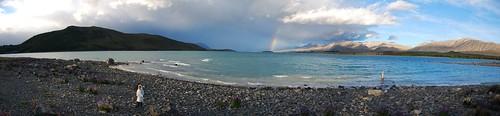 Lake Tekapo con el arco iris