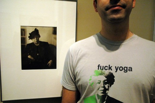 "Eleanor Roosevelt meets her post-modern doppelganger on a ""Fuck Yoga"" label t-shirt"