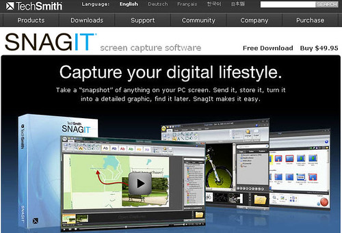 SnagIt Capture of SnagIt Webpage