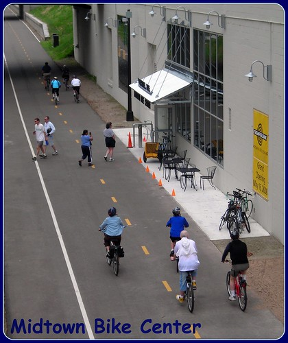 Midtown Bike Center, Midtown Greenway, Minneapolis; cc: Flickr user livewombat