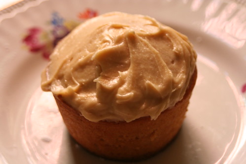 caramel cupcake with brown butter caramel frosting